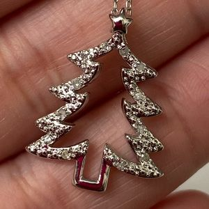 Jewelry - sterling diamond Christmas tree pendant necklace